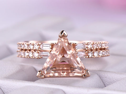 Reserved for Dulcinel Trillion Morganite Ring Bridal Sets Baguette Diamond Euro Shank 14K Rose Gold 9mm