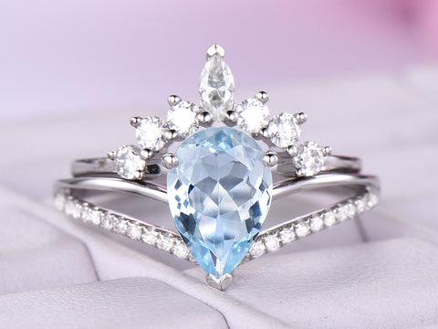 Pear Aquamarine Diamond  Engagement Ring Sets Tiara Moissanite Band 14K White Gold 6x8mm