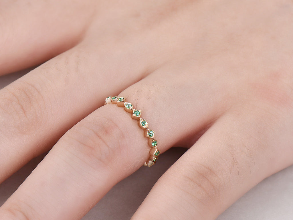 Natural Emerald Wedding Band Eternity Anniversary Ring 14K Yellow Gold