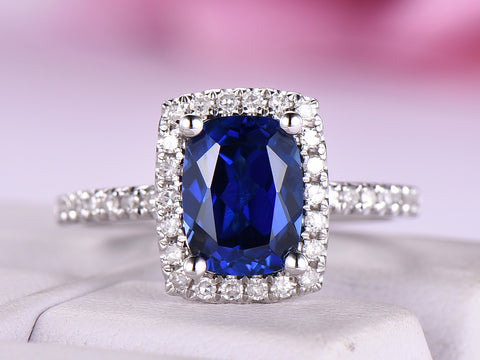 Cushion Sapphire Engagement Ring Pave Diamond Wedding 14K White Gold 6x8mm