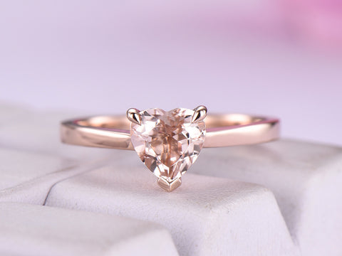 Heart Morganite Engagement Ring 14K Rose Gold 6.5mm
