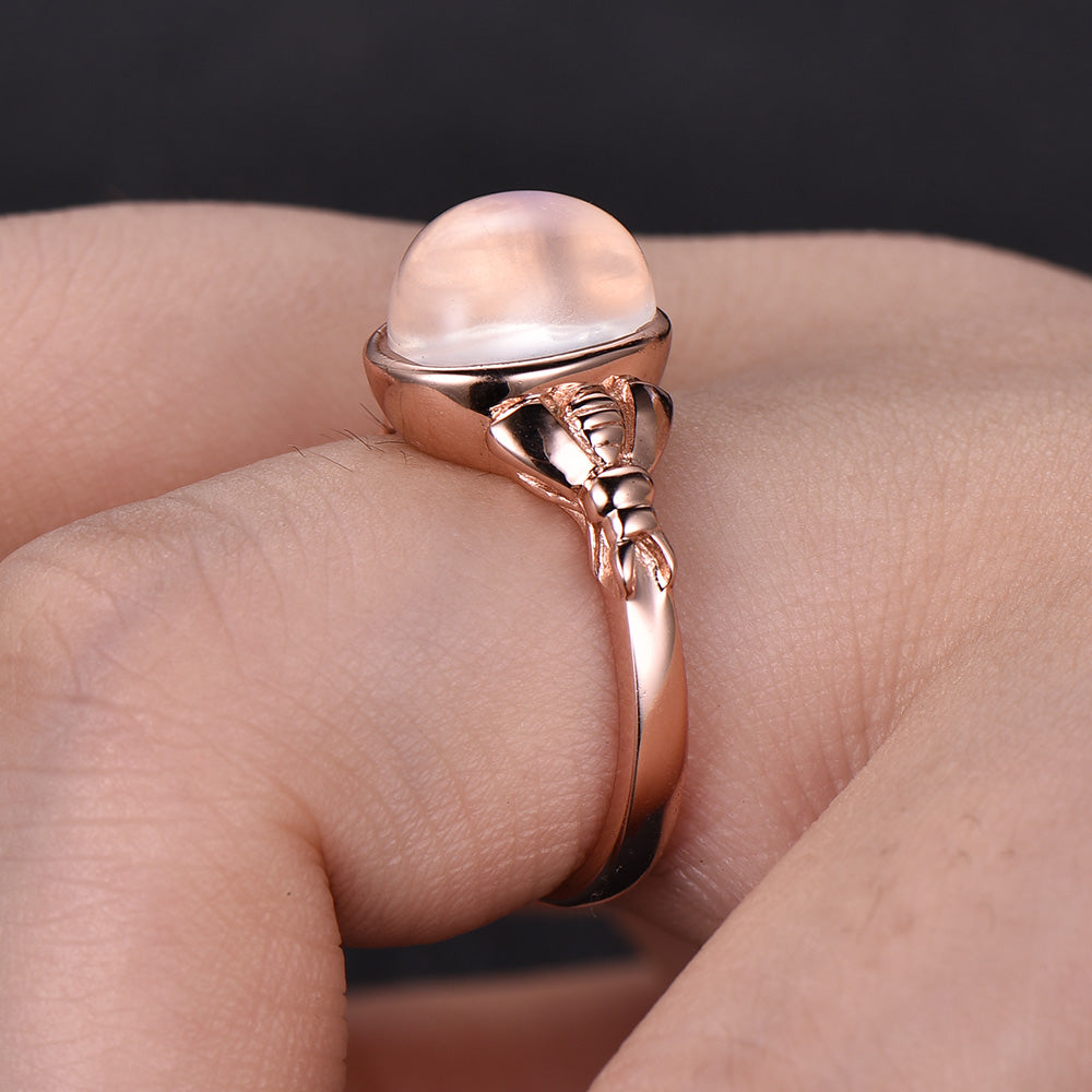 $595 Oval Moonstone Engagement Ring 14k Rose Gold – Lord of Gem Rings