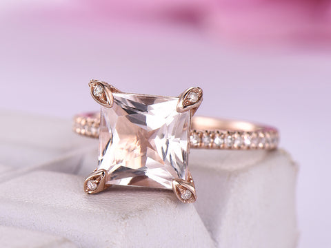 Reserved for Katherine  Princess Morganite Engagement Ring Diamond Prongs 14K Rose Gold 10mm