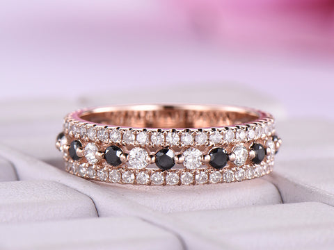 Black/Clear Diamond Wedding Band 3/4 Eternity Anniversary Ring 14k Rose Gold
