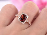 Cushion Garnet Engagement Ring Pave Diamond Wedding 14K Rose Gold 6x8mm