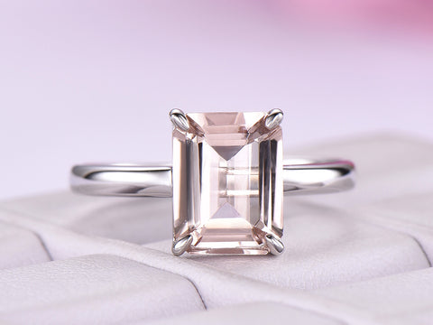 Emerald Cut Morganite Engagement Ring 14K White Gold 7x9mm