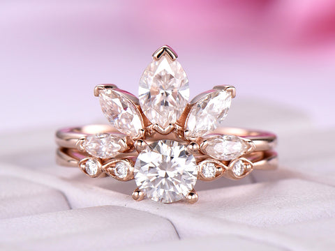 Round Moissanite Engagement Ring  Sets Moissanite Tiara Ring 14k Rose Gold 5mm