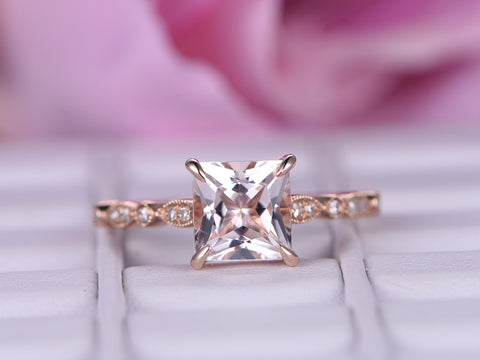 Princess Morganite Engagement Ring Pave Diamond Wedding 14K Rose Gold 7mm