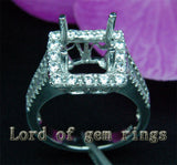 Baguette/Round Diamond Engagement Semi Mount Ring 14K White Gold Setting Princess 9mm - Lord of Gem Rings - 2