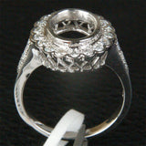 Diamond Engagement Semi Mount Ring 14K White Gold Oval 7.5x9.5mm Bezel Halo - Lord of Gem Rings - 2