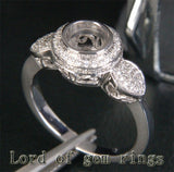 Bezel 5mm Round Cut 14K White Gold .31ctw Diamonds Engagement Semi Mount Ring - Lord of Gem Rings - 2