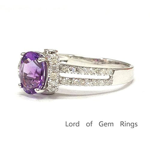 Oval Purple Amethyst Engagement Ring Pave Diamond Wedding 14K White Gold,6x8mm - Lord of Gem Rings - 1