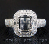 Diamond Engagement Semi Mount ring 14k white gold Setting Emerald cut 6x8mm - Lord of Gem Rings - 2