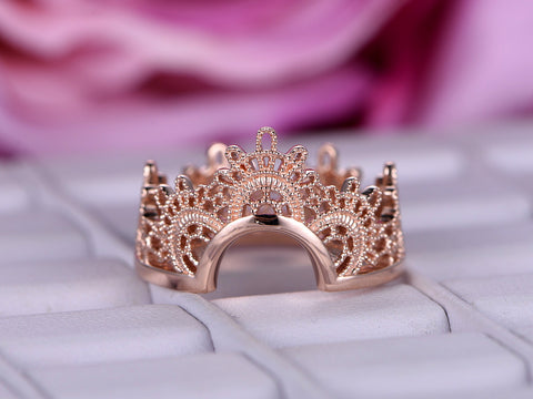 Wedding Band Tiara Ring Guard 14K Rose Gold