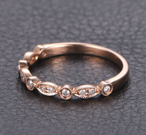 Pave Diamond Wedding Band Half Eternity Anniversary Ring 14K Rose Gold - Lord of Gem Rings - 2