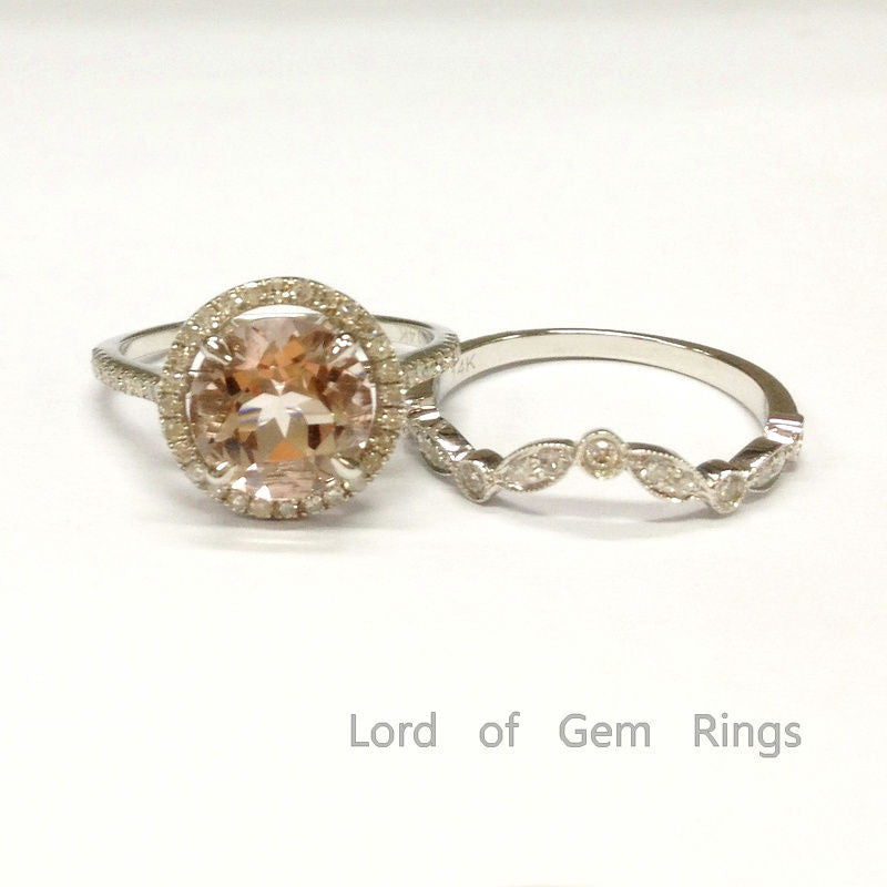 Ready to Ship: 8mm Round Morganite & Diamond Engagement Ring Trio Set in 14K White Gold: 14KW-8RMorg-Set3 - Lord of Gem Rings - 1