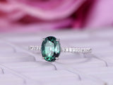 Oval Alexandrite Engagement Ring Pave Diamond 14K White Gold 6x8mm
