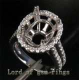 HEAVY! 11x13mm Oval Cut 14K White Gold 1.05ct Diamond Engagement Semi Mount Ring - Lord of Gem Rings - 2
