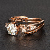 Round Moissanite Engagement Ring VS-H Diamond 14K Rose Gold 6.5mm Unique Band - Lord of Gem Rings - 2