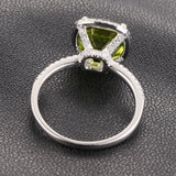 Cushion Peridot Engagement Ring Pave Diamond Wedding 14K White Gold 8mm Claw Prongs - Lord of Gem Rings - 2