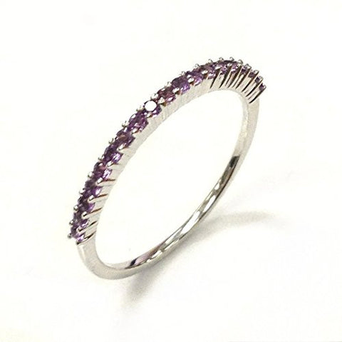 purple amethyst wedding band half eternity anniversary ring 14k white goldthin design lord - Amethyst Wedding Ring