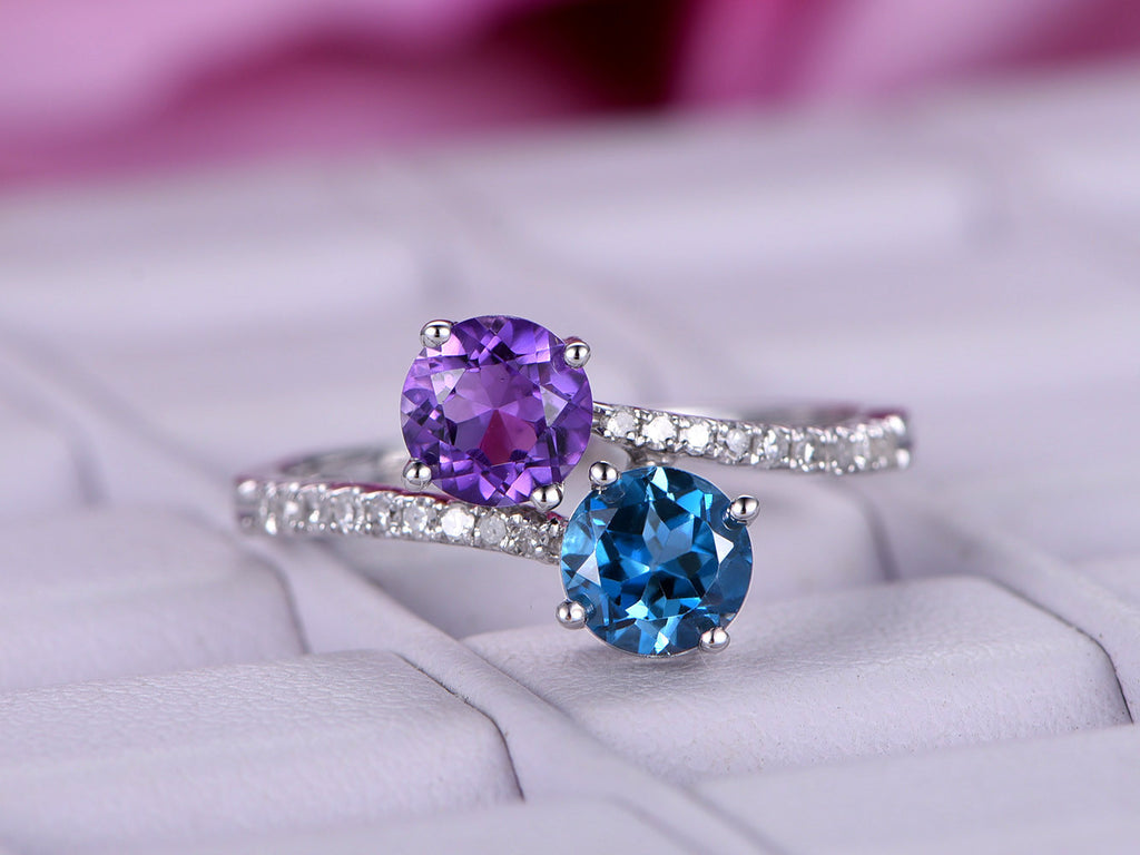 gold princess promise rings engagement white birthstone february diamond amethyst purple ring
