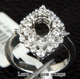 HEAVY 5x7mm Oval Cut .81ct Diamonds Solid 14K White Gold Wedding Semi Mount Ring - Lord of Gem Rings - 2