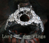 Diamond Engagement Semi Mount Ring 14K White Gold Setting Round 8mm Halo - Lord of Gem Rings - 2