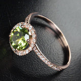 Round Peridot Engagement Ring Pave Diamond Wedding 14k Rose Gold 7mm - Lord of Gem Rings - 2