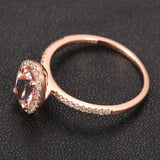 Oval Morganite Engagement Ring Pave Diamond Wedding 14K Rose Gold 6x8mm CLAW PRONGS - Lord of Gem Rings - 2