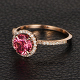 Round Pink Tourmaline Engagement Ring Pave Diamond Wedding 14K Rose Gold 7mm - Lord of Gem Rings - 2