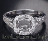 Diamond Engagement Semi Mount Ring 14K White Gold Setting Round 7mm - Lord of Gem Rings - 2