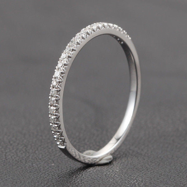 French V Pave Diamond Wedding Band Half Eternity Anniversary Ring 14K White Gold  H/SI - Lord of Gem Rings - 1