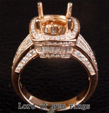 Diamond Engagement Semi Mount Ring 14k Rose gold Setting Round 9mm - Lord of Gem Rings - 2