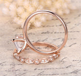 Princess Morganite Engagement Ring Sets Pave Diamond Wedding 14K Rose Gold 7mm - Lord of Gem Rings - 2