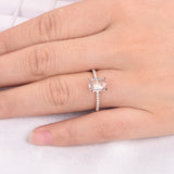 Reserved for AAA: Emerald Cut Morganite Ring Pave Full Cut Diamond Shank 14K Yellow Gold 6x8mm
