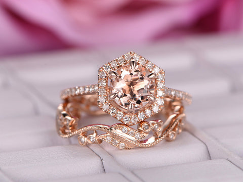 Round Morganite Engagement Ring Sets Floral Wedding Band 14K Rose Gold 7mm