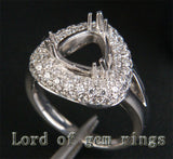 Diamond Engagement Semi Mount  Ring 14K White Gold Setting Trillion 9mm - Lord of Gem Rings - 2