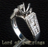 Diamond Engagement Semi Mount Ring 14K White Gold Setting Round 6.5mm Channel - Lord of Gem Rings - 2