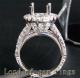 HEAVY! 9x11mm Oval Cut 14K White Gold 3.03CT Diamonds Engagement Semi Mount Ring - Lord of Gem Rings - 2