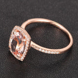 Oval Morganite Engagement Ring Pave Diamond Wedding 14K Rose Gold 7x9mm Cushion Halo - Lord of Gem Rings - 3