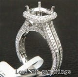 Diamond Engagement Semi Mount Ring 14K White Gold Setting Cushion 7mm - Lord of Gem Rings - 2