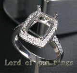 Diamond Engagement Semi Mount Ring 14K White Gold Setting Cushion 8x11mm - Lord of Gem Rings - 2