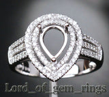 Diamond Engagement Semi Mount Ring 14K White Gold Setting Pear 6x8mm - Lord of Gem Rings - 2