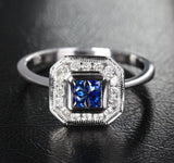 Princess Sapphire Engagement Ring Pave Diamond Wedding 14k White Gold 0.98ct Invisible Diamonds - Lord of Gem Rings - 2
