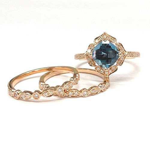 Cushion London Blue Topaz Engagement Ring Trio Sets Pave Diamond Wedding 14K Rose Gold,8mm,Art Deco Bands - Lord of Gem Rings - 3