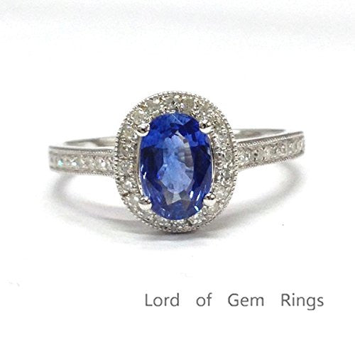 669 oval tanzanite engagement ring pave diamond wedding 14k white gold lord of gem rings. Black Bedroom Furniture Sets. Home Design Ideas
