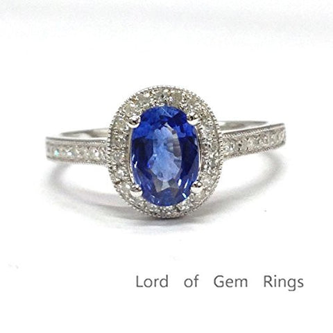 Oval Tanzanite Engagement Ring Pave Diamond Wedding 14K White Gold,6x8mm,Reel Bead - Lord of Gem Rings - 1
