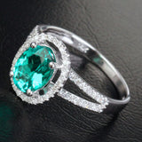 Oval Emerald Engagement Ring Pave Diamond Wedding 14k White Gold 7x9mm Split Shank - Lord of Gem Rings - 2