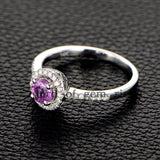 Round Pink Sapphire Engagement Ring Pave Diamond Wedding 14K White Gold 5mm - Lord of Gem Rings - 2